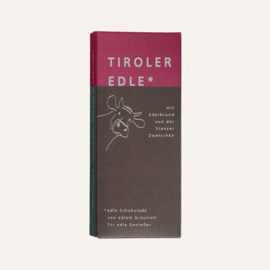 Schokolade des Monats: Edelbitterschokolade mit Edelbrand von der Stanzer Zwetschke – 5 + 1 gratis